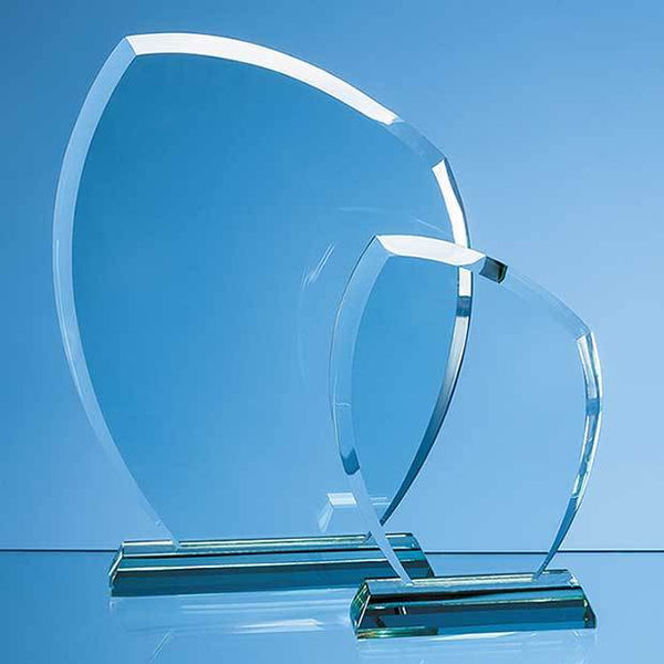 EUR49P -   15cm x 11.5cm x 12mm Jade Glass Autumn Leaf Award - (Fully Engraved)