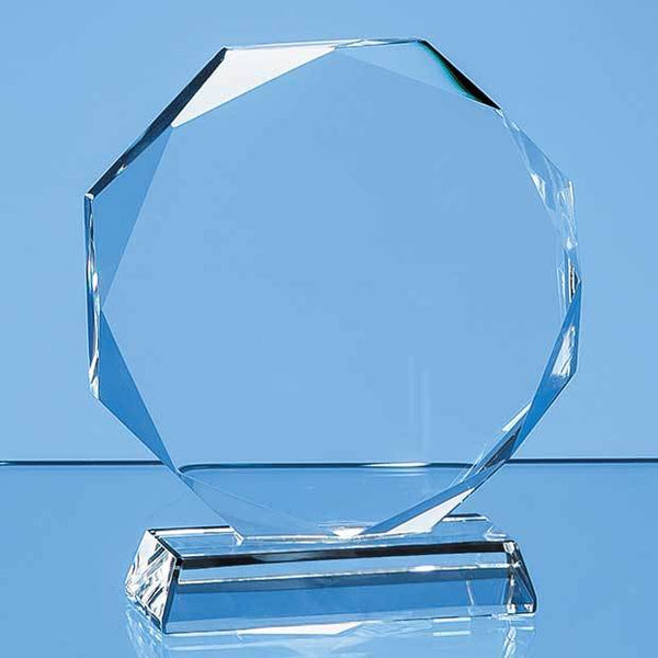 EUR58P -   10cm x 10cm x 15mm Clear Glass Facetted Octagon Award - (Fully Engraved)