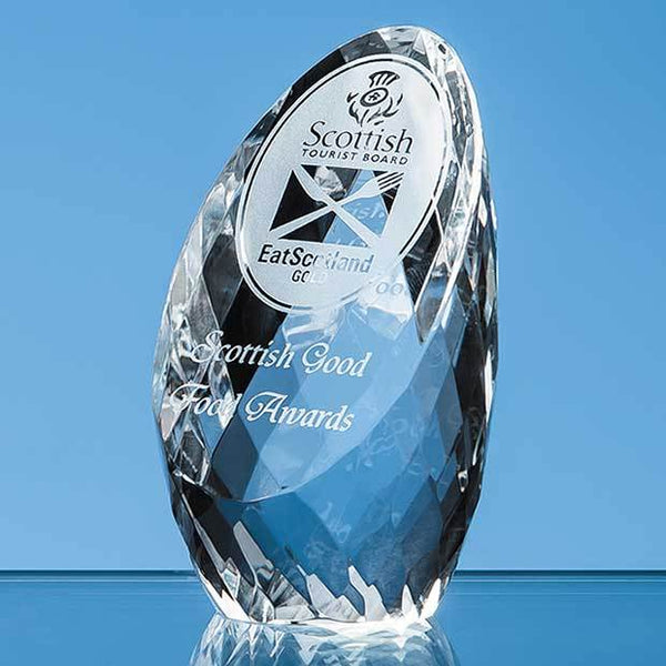EUR70P -   8.5cm Optical Crystal Facet Sliced Oval Paperweight - (Fully Engraved)