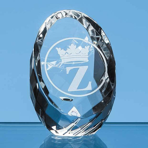 EUR71P -   6cm Optical Crystal Facet Sliced Oval Paperweight - (Fully Engraved)