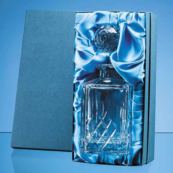 FCL471P -   0.8ltr Blenheim Lead Crystal Full Cut Square Spirit Decanter Gift Set - (Fully Engraved)