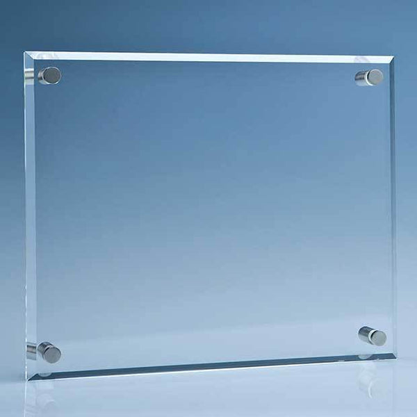 IR8P -   25.5cm x 30.5cm Clear Glass Wall Display Plaque inc Fixing Kit - (Fully Engraved)