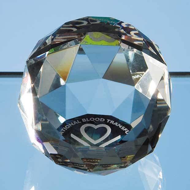 5cm Coloured Optical Crystal Facet Ball