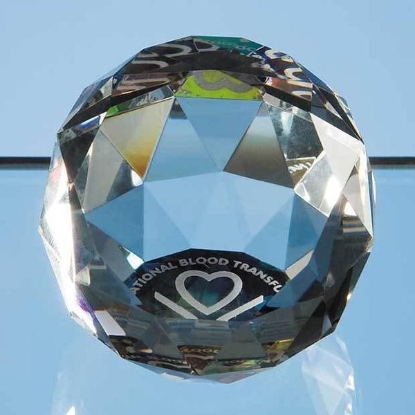 JG34P -   5cm Coloured Optical Crystal Facet Ball - (Fully Engraved)