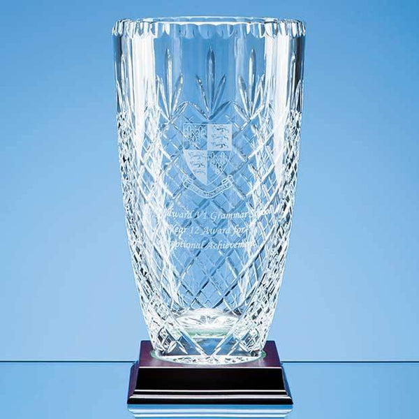 JR16P -   25cm Lead Crystal Panelled Barrel Vase - (Fully Engraved)