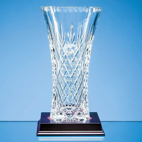 JR18P -   25.5cm Lead Crystal Panelled Flared Vase - (Fully Engraved)