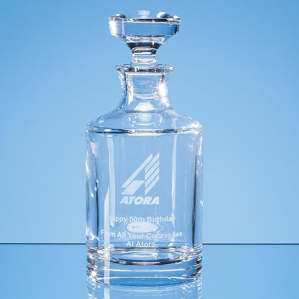 JR32P -   0.5ltr Lead Crystal Boris Spirit Decanter - (Fully Engraved)