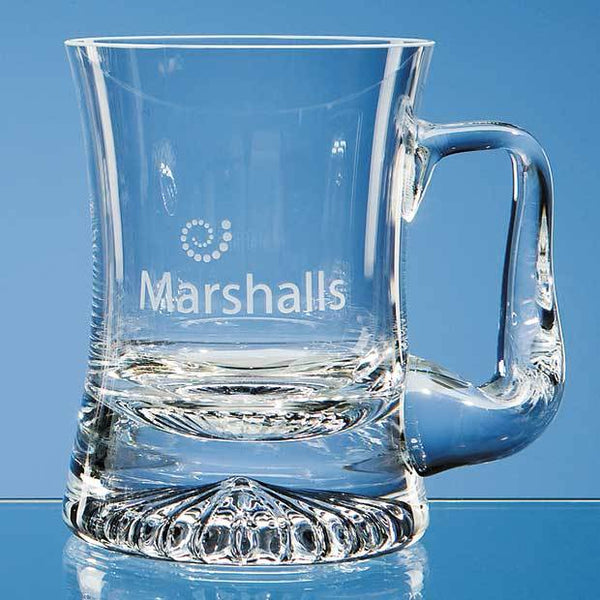 L194P -   0.255ltr Handmade Curved Star Base Tankard - (Fully Engraved)