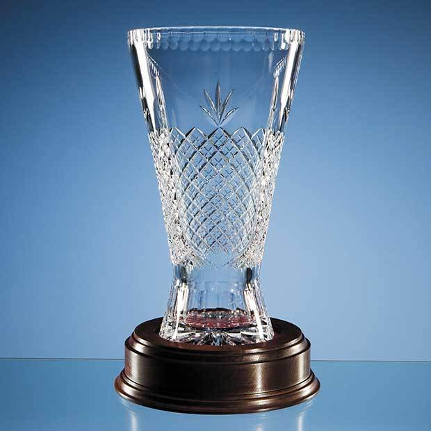 30cm Lead Crystal Panelled Trophy Vase