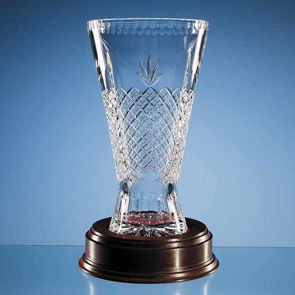 L198P -   30cm Lead Crystal Panelled Trophy Vase - (Fully Engraved)