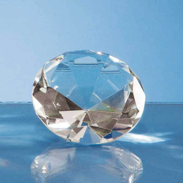 L318P -   6cm Optical Crystal Clear Diamond Paperweight - (Fully Engraved)