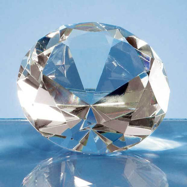L319P -   8cm Optical Crystal Clear Diamond Paperweight - (Fully Engraved)
