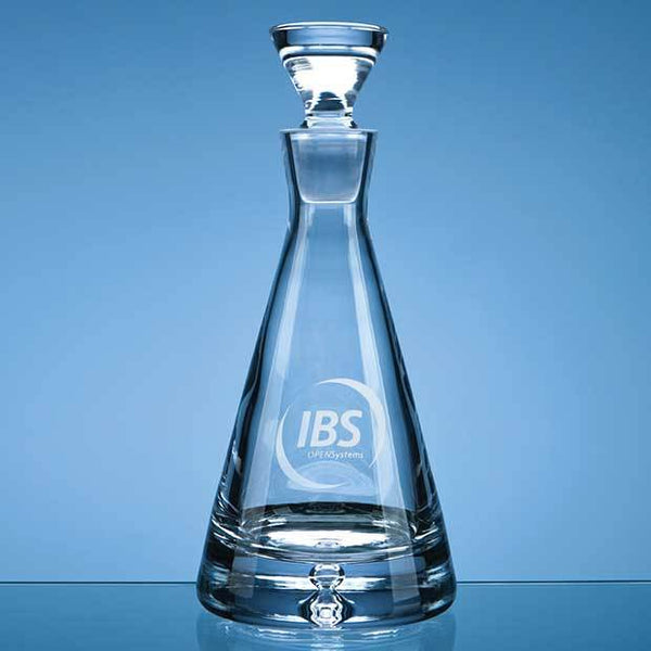 L336P -   0.75ltr Handmade Bubble Base Pyramid Decanter - (Fully Engraved)