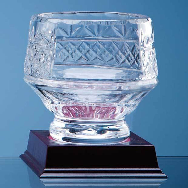 L337P -   12cm Lead Crystal Panelled Heeled Bowl - (Fully Engraved)