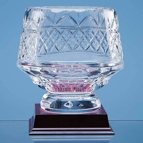 L338P -   15cm Lead Crystal Panelled Heeled Bowl - (Fully Engraved)