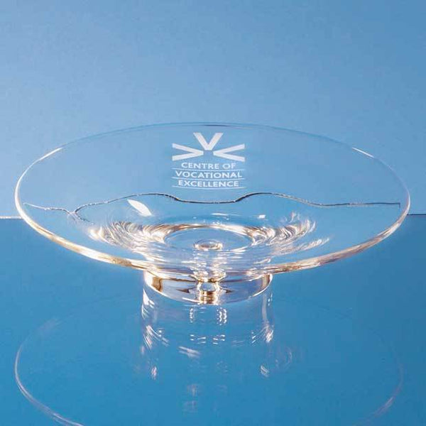 L400P -   22cm Handmade Bubble Base Shallow Bowl - (Fully Engraved)