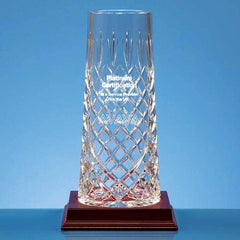 25cm Lead Crystal Tapered Panel Vase
