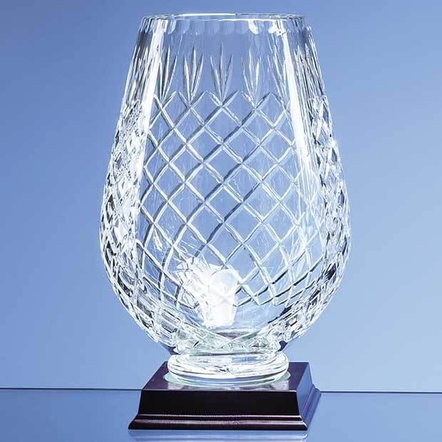25cm Lead Crystal Panelled Tulip Vase