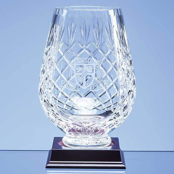 L430P -   20cm Lead Crystal Panelled Tulip Vase - (Fully Engraved)
