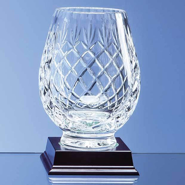 L431P -   15cm Lead Crystal Panelled Tulip Vase - (Fully Engraved)
