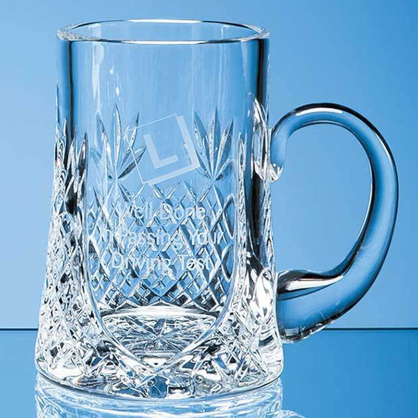 L435P -   0.3ltr Lead Crystal Panel Tankard - (Fully Engraved)