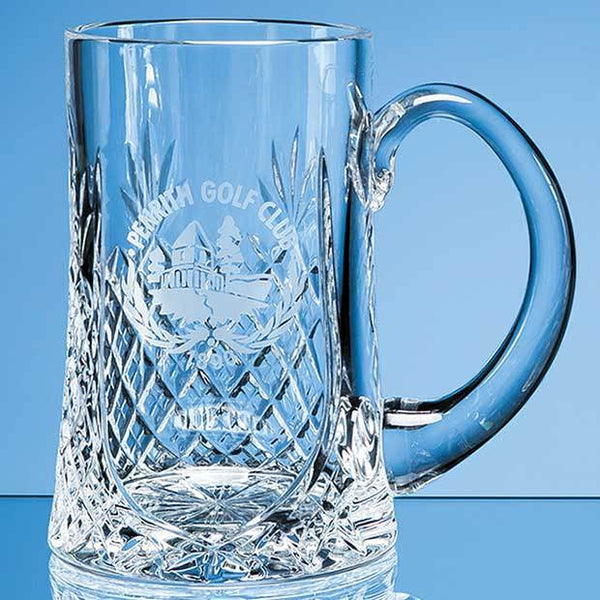 L436P -   0.57ltr Lead Crystal Panel Tankard - (Fully Engraved)