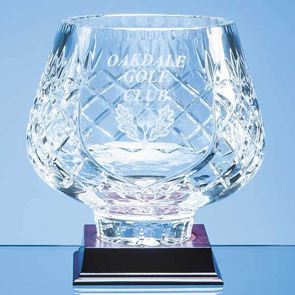 L441P -   18cm Lead Crystal Panelled Tulip Bowl - (Fully Engraved)
