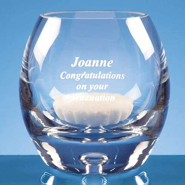 L458P -   10.5cm Handmade Bubble Base Candle Holder* - (Fully Engraved)