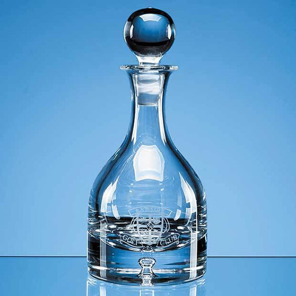 L501P -   0.6ltr Handmade Bubble Base Round Wine Decanter - (Fully Engraved)