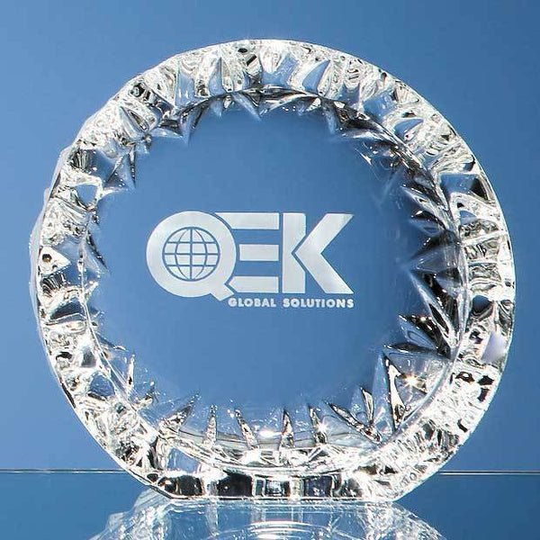MC26P -   13cm Mario Cioni Lead Crystal Tech Roundel - (Fully Engraved)