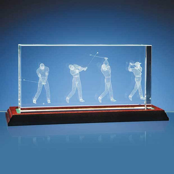 NAN46P -   3D Golf Scene in 10cm x 20cm Optical Crystal Block - (Fully Engraved)