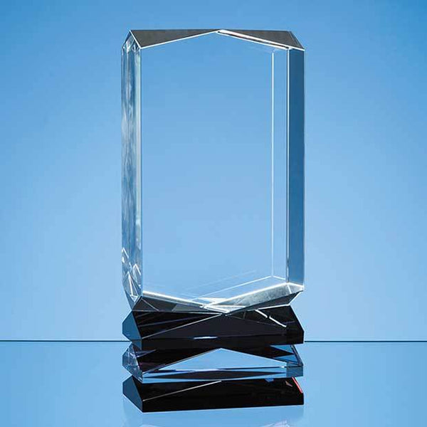 NM100P -   23cm Nik Meller Design Clear Optical Crystal, Cobalt Blue & Red Covet Column Award - (Fully Engraved)