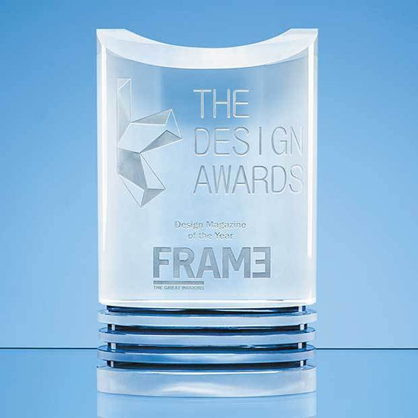 NM102P -   21cm Nik Meller Design Clear Optical Crystal & Cobalt Blue Oval Michel Award - (Fully Engraved)