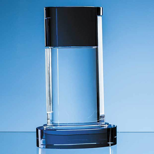 NM105P -   29cm Nik Meller Design Clear Optical Crystal & Cobalt Blue Seeq Oval Column Award - (Fully Engraved)