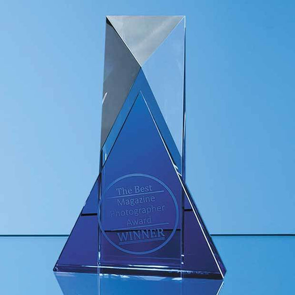 NM111P -   18cm Nik Meller Design Clear Optical Crystal & Cobalt Blue Mixx Award - (Fully Engraved)