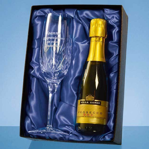 PB201P -   Blenheim Single Champagne Flute Gift Set with a 20cl Bottle of Prosecco - (Fully Engraved)