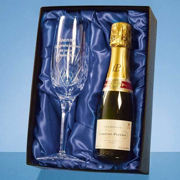 PB202P -   Blenheim Single Champagne Flute Gift Set with a 20cl Bottle of Laurent Perrier Champagne - (Fully Engraved)