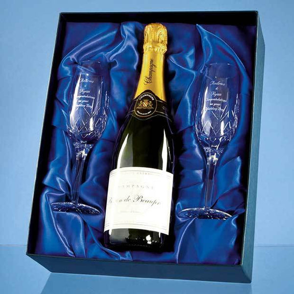 PB203P -   Blenheim Double Champagne Flute Gift Set with a 75cl Bottle of Brut House Champagne - (Fully Engraved)