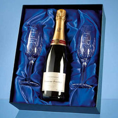 Blenheim Double Champagne Flute Gift Set with a 75cl Bottle of Laurent Perrier Champagne
