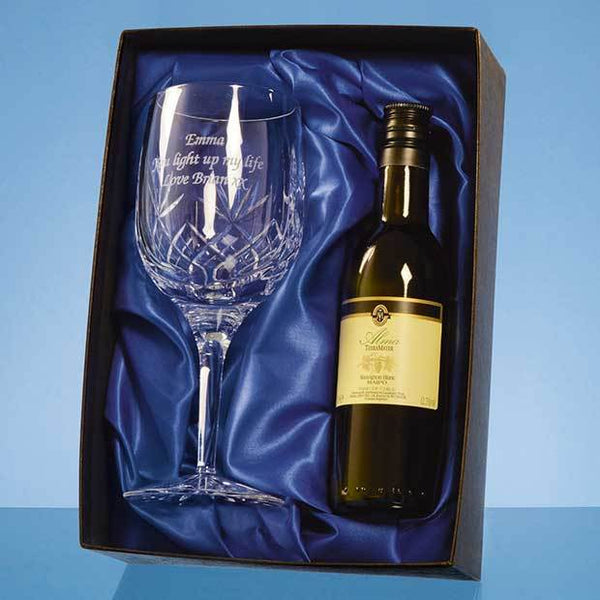 PB205P -   Blenheim Single Goblet Gift Set with a 18.7cl Bottle of White Wine - (Fully Engraved)