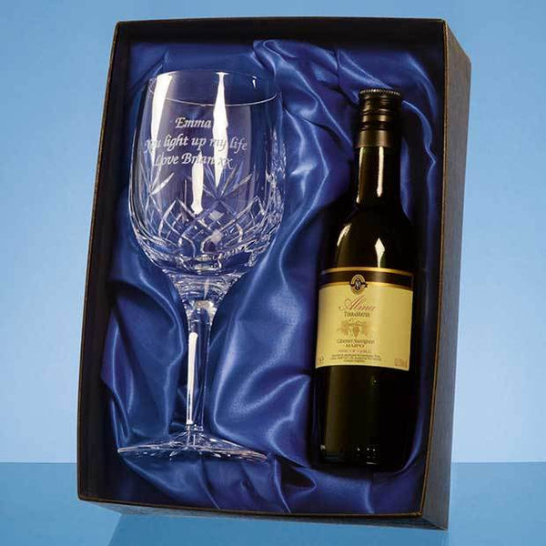 PB206P -   Blenheim Single Goblet Gift Set with a 18.7cl Bottle of Red Wine - (Fully Engraved)