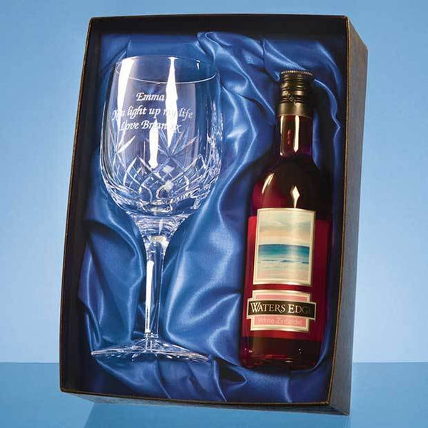 PB207P -   Blenheim Single Goblet Gift Set with a 18.7cl Bottle of Rose Wine - (Fully Engraved)