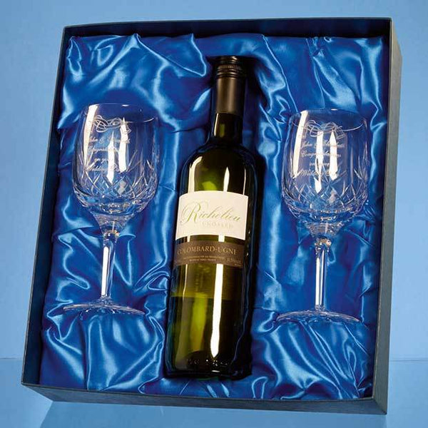 PB209P -   Blenheim Double Goblet Gift Set with a 75cl Bottle of White Wine - (Fully Engraved)