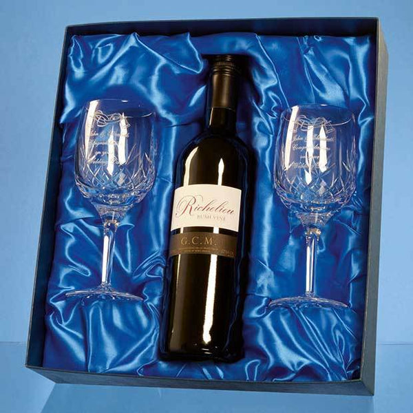 PB210P -   Blenheim Double Goblet Gift Set with a 75cl Bottle of Red Wine - (Fully Engraved)