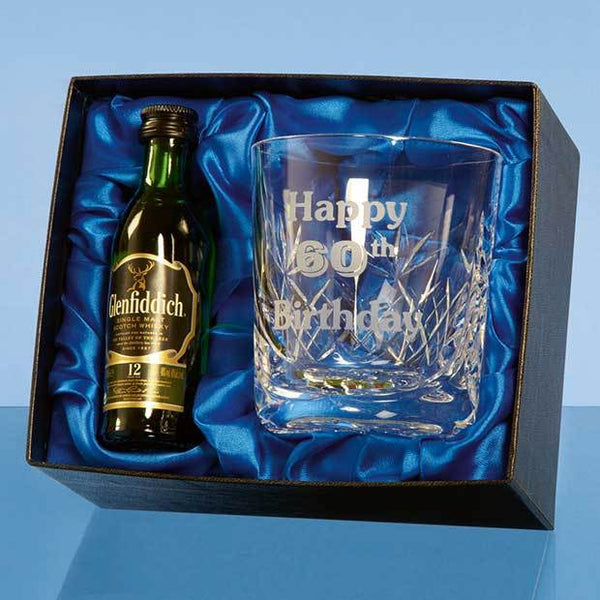 PB211P -   Blenheim Whisky Tumbler Gift Set with a 5cl Miniature Bottle of Malt Whisky - (Fully Engraved)