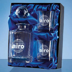 3pc Plain 0.8ltr Whisky Set in a Satin Lined Presentation Box