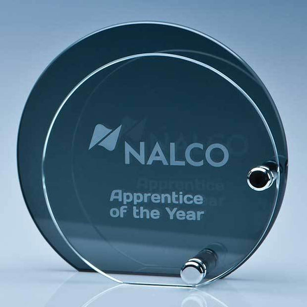PG104P -   12cm x 6mm Clear Circle Mounted on a 15cm Smoked Glass Plaque - (Fully Engraved)