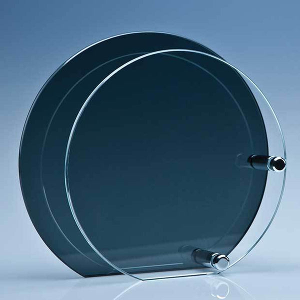PG105P -   14cm x 6mm Clear Circle Mounted on a 18cm Smoked Glass Plaque - (Fully Engraved)