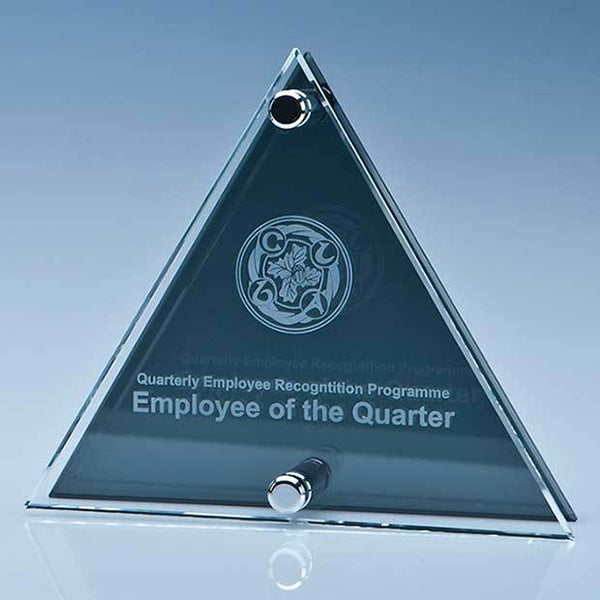 PG106P -   15cm x 17.5cm x 6mm Clear & Smoked Glass Triangle Plaque - (Fully Engraved)