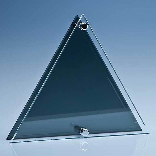 PG107P -   20cm x 23cm x 6mm Clear & Smoked Glass Triangle Plaque - (Fully Engraved)